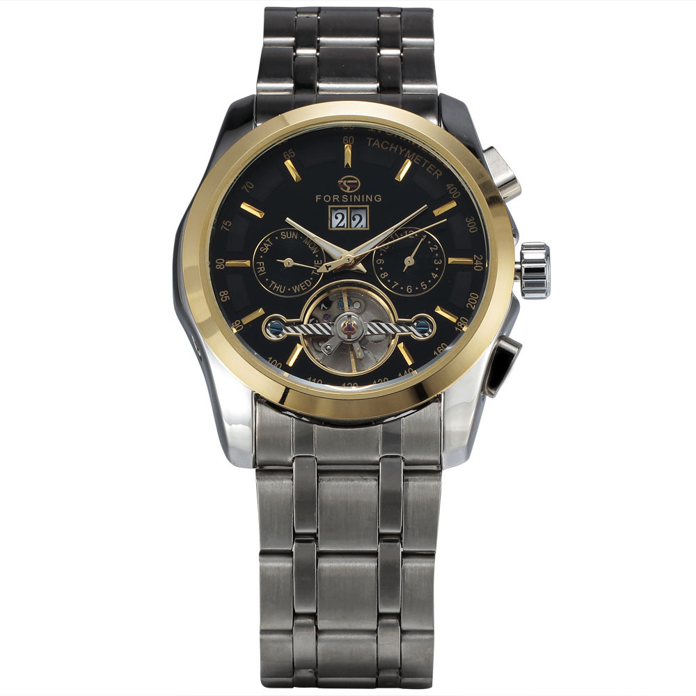 WINNER Men Mechanical Watch Sub Dials Tourbillon Stainless steel Strap Black Dial Golden Case14