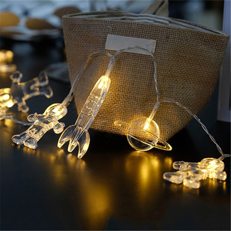 Us 6 66 32 Off Diy Home Party Decoration Lighting Chains Mini Astronaut Lantern Wedding 20 Leds Creative String Light For In