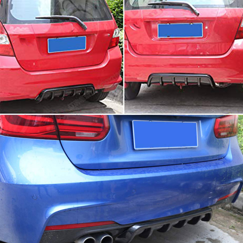 Universal Fit Rear Bumper Lip Lower Diffuser Shark Fins Black 4PCS ABS