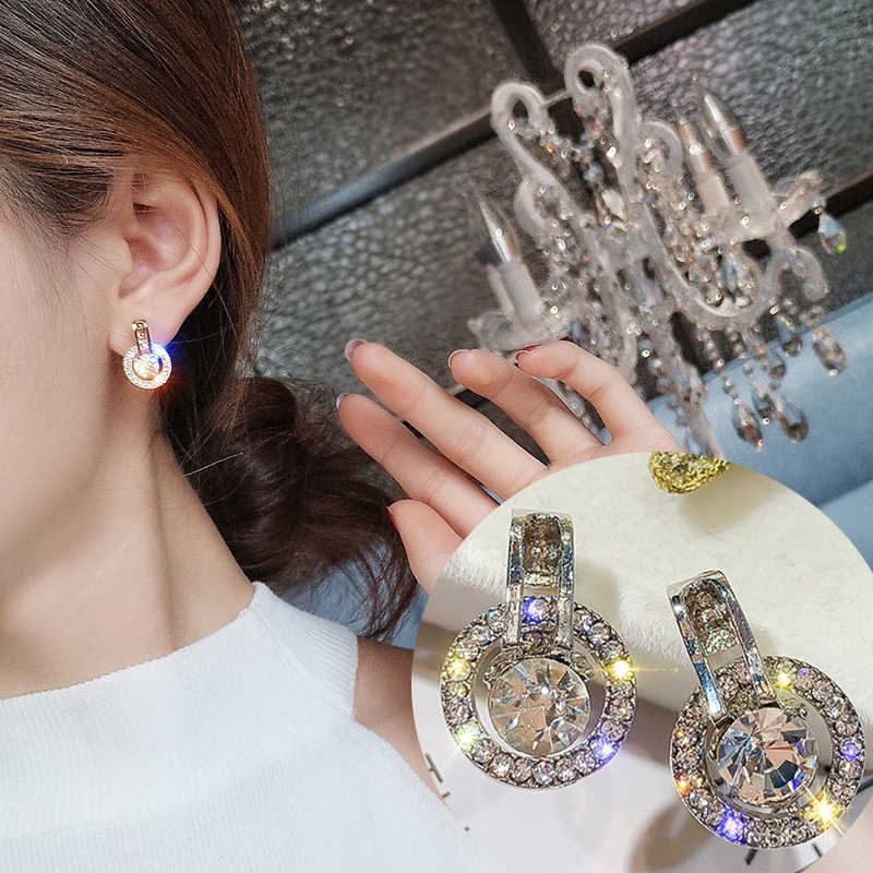 Korean Cute Bijoux Crystal Round Earrings For Women Party Daily Wear Jewelry Wedding Accessories Wholesale Brincos O4E743
