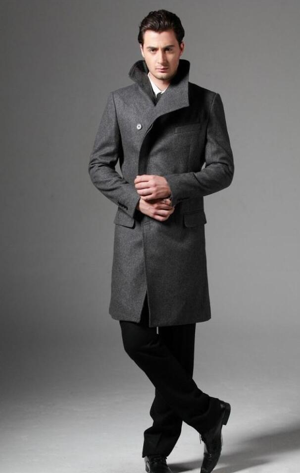 Single breasted casual woolen coat men trench coats long sleeves overcoat mens cashmere coat casaco masculino england black grey in Wool amp Blends from Men 39 s Clothing