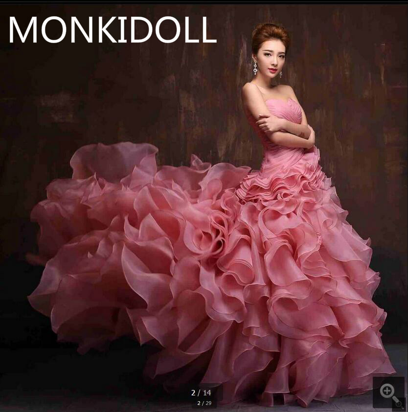 2017 new arrival pink mermaid ball gown ruffled pleated prom dress strapless sweetheart neck court train prom gowns hot sale