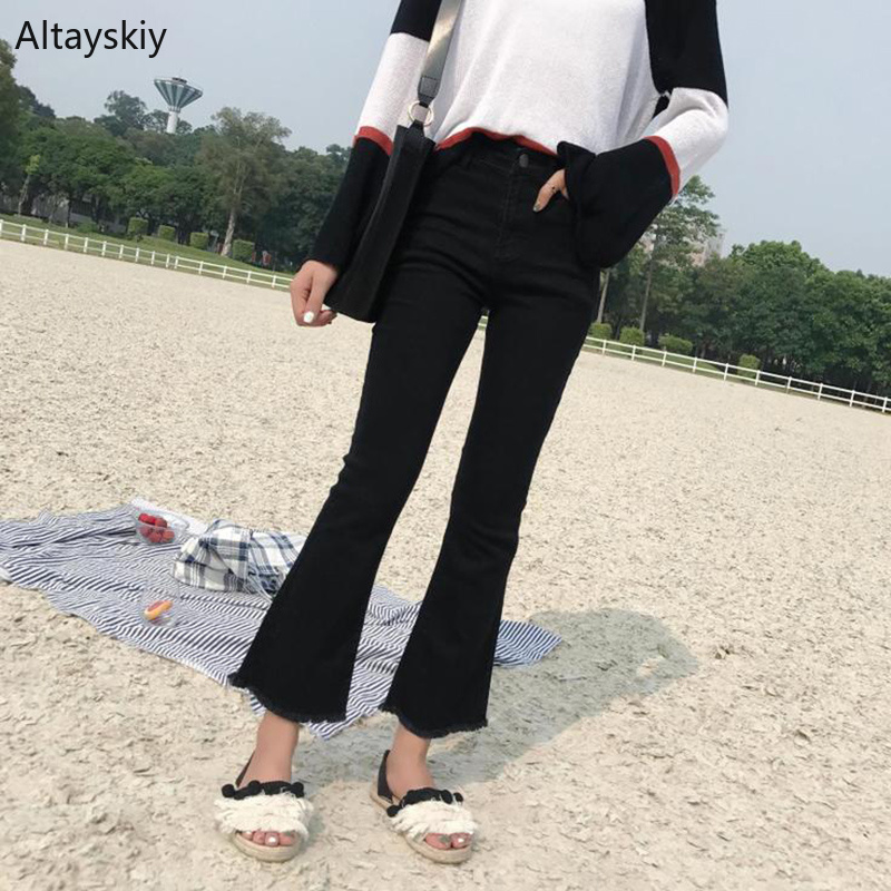 Jeans Women Solid Simple All-match Korean Style Leisure Daily Pockets High-quality Trendy Ankle-Length Pants Fake Zippers 2019