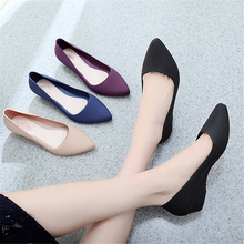 2019 Spring Summer Women Shoes Comfort Pointed Toe Pumps Mid Heels Slip On Female Wedge Shoes Black Pink Casual Ladies Shoes hot spring 2017 new british style fashion women white blue jeans embroidery flower rivets slip on wedge pumps casual shoes