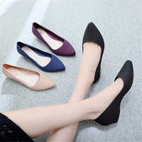 2019 Spring Summer Women Shoes Comfort Pointed Toe Pumps Mid Heels Slip On Female Wedge Shoes Black Pink Casual Ladies Shoes
