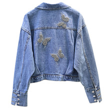2019 Beading Denim Jacket For Women Long Sleeve Casual Loose Jean Bomber Coat butterfly Cool Cropped Tops BF
