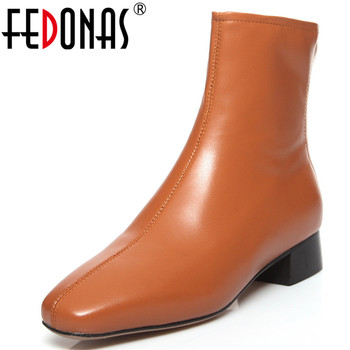 FEDONAS Brand 2020 Autumn Winter Fashion Square Toe High Heels Party Shoes Woman Genuine Leather Back Zipper Women Ankle Boots