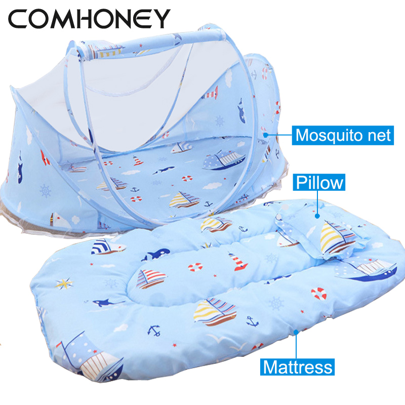 Baby Crib 0-3 Years Baby Bed With Pillow Mat Set Portable Foldable Crib Mosquito Net Newborn Bedding Sleep Infant Travel Bed 3pcs set pink baby bedding crib netting folding baby music mosquito nets bed mattress pillow baby crib for baby bed accessories