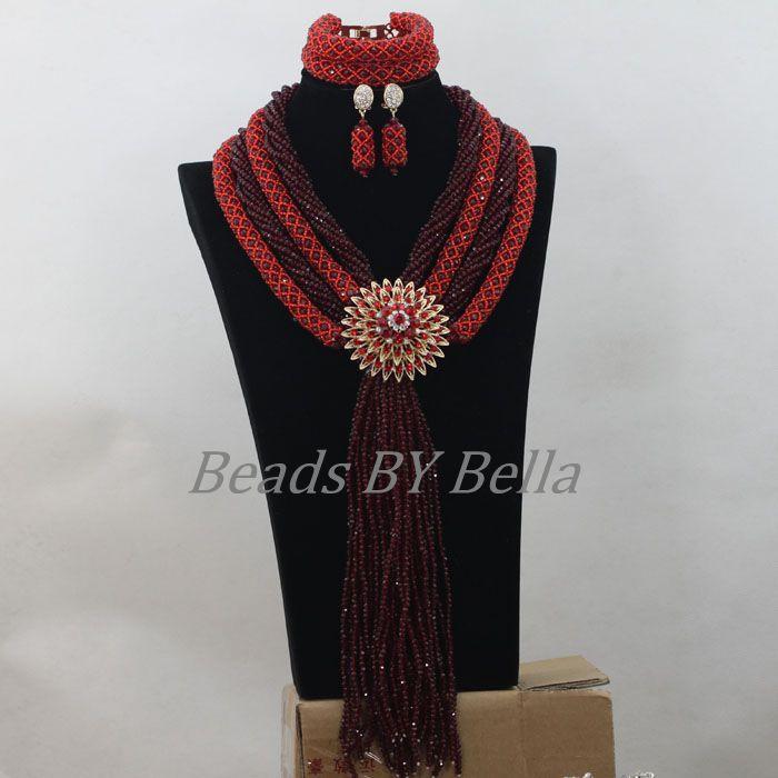 Vin rouge couleur tresse perles de mariage africaines cristal mode bijoux ensemble nouveau nigérian perlé colliers ensembles livraison gratuite ABF684