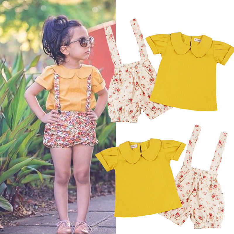 Toddler Kids Baby Girls Flower Strap Shorts Outfits Pants T-shirt Tops  2PCS Set Girl Clothes Set Girl Clothing Set toddler kids baby girls clothing cotton t shirt tops short sleeve pants 2pcs outfit clothes set girl tracksuit