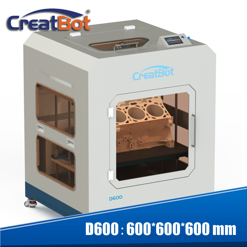 Más reciente tecnología super gran 3d impresora de alta estable de alta precisión 3d máquina de impresión D600 con E3DV6 400 grados doble extrusora