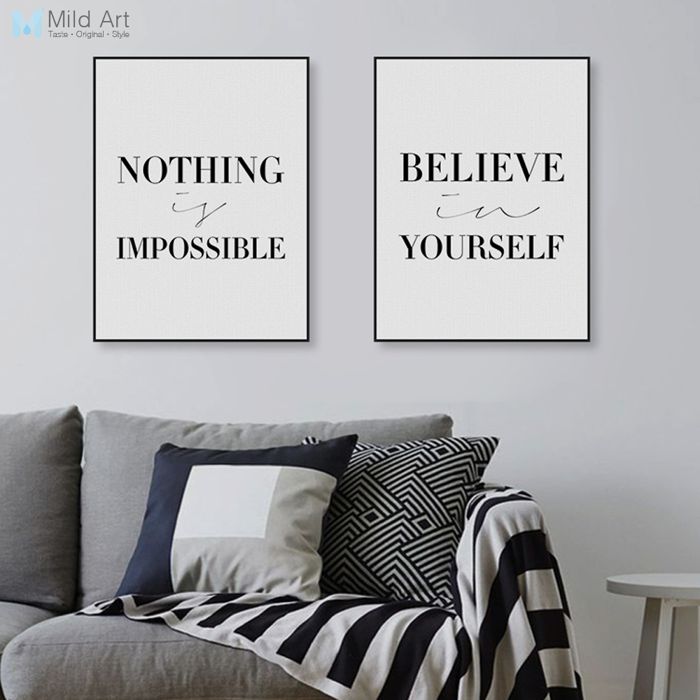 Modern minimalist black motivational quotes poster print for Home interiors and gifts framed art