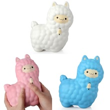 Jumbo 16CM Cute Alpaca with Bell Squishy Phone Strap Decor Slow Rising Collection Kids Funny Sheep Toy Xmas New Year Gift P15