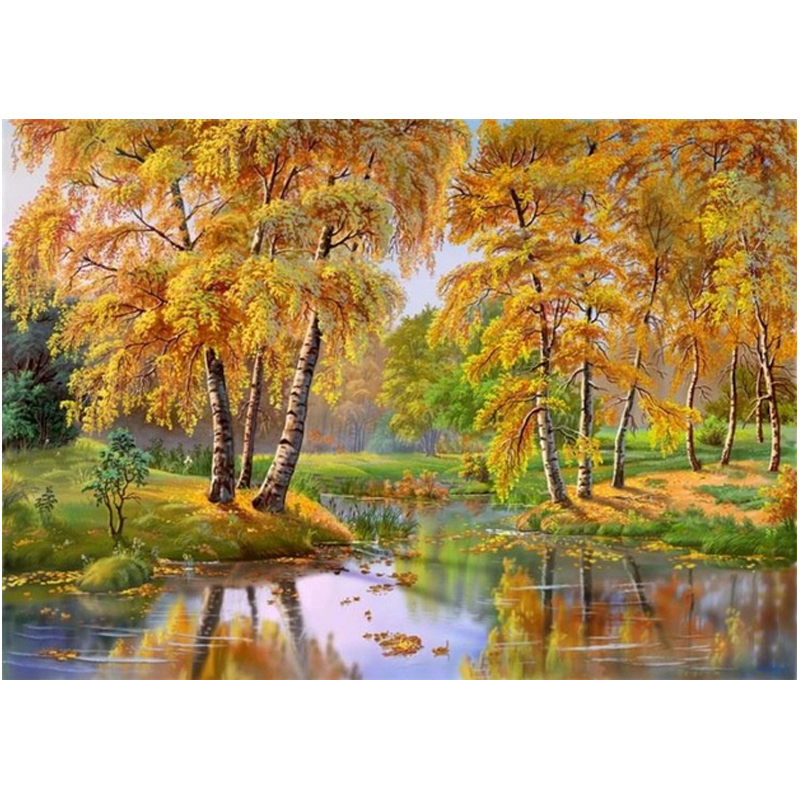 New full DIY Diamond painting kit 3D cross stitch Square Diamond embroidery Autumn Forest River Diamond Crafts #BR19