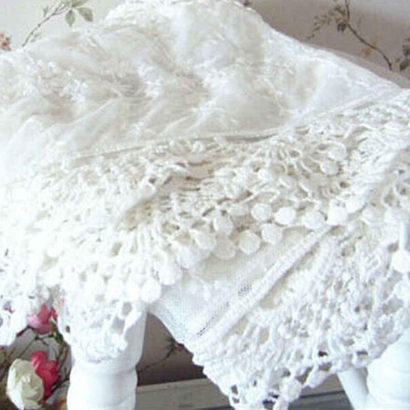 Delle Donne di modo Della Signora Lunga Sciarpa Del Ricamo Floreale Crochet Della Maglia Lace Trim ShawlScarf