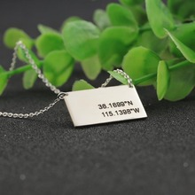 Charm Stamp Memorial Coordinate Necklace Customized Longitude and Latitude Engraved Necklace Men Charm Jewelry