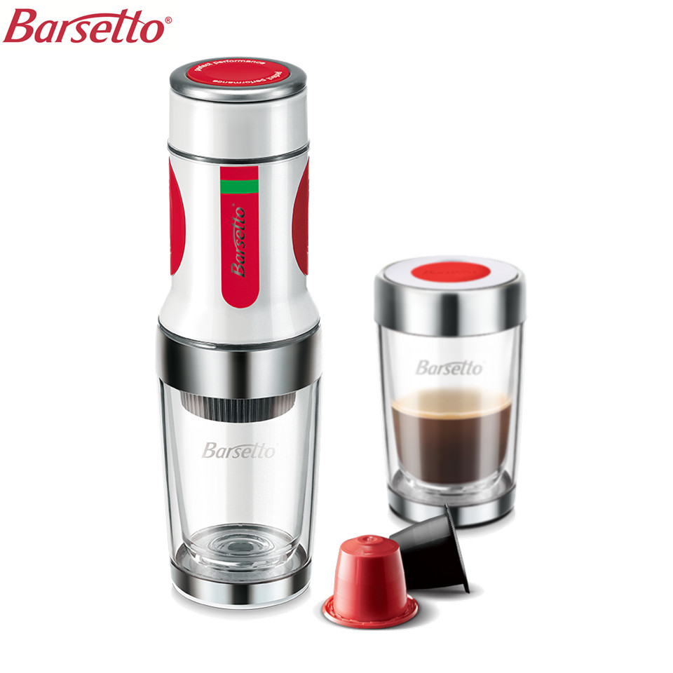 Barsetto BAH010N Portable Coffee Maker Manual Tripresso Espresso Maker Hand Pressure For Coffee Powder Capsule 15 Bar