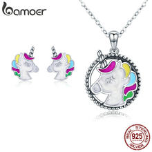 Bamoer Autentico 925 Sterling Silver Colorful Smalto Licorne Donne Collane Orecchini Parure di Gioielli da Donna Gioielli in Argento ZHS089(China)
