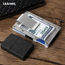 Leacool 2 Color Brand Design Fashion Black Silver Metal Mini Money Clip Credit Card ID Holder With RFID Anti-chief Wallet