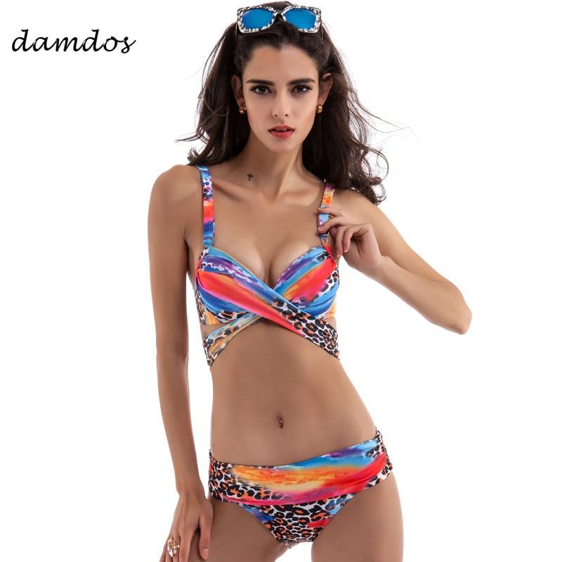 2018 Для женщин комплект бикини плюс Размеры купальник Для женщин Сексуальная Бразильское Бикини Push Up купальный купальник пляжная одежда кос