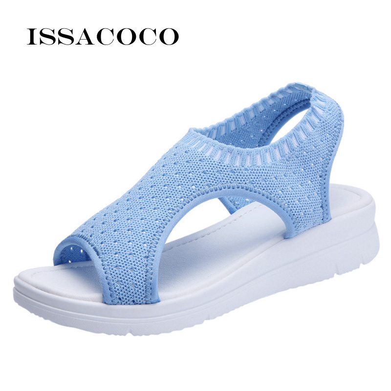 ISSACOCO WomenS Sandals New Female Shoes Woman Summer Wedge Comfortable Ladies Slip-on Flat Women Sandalias