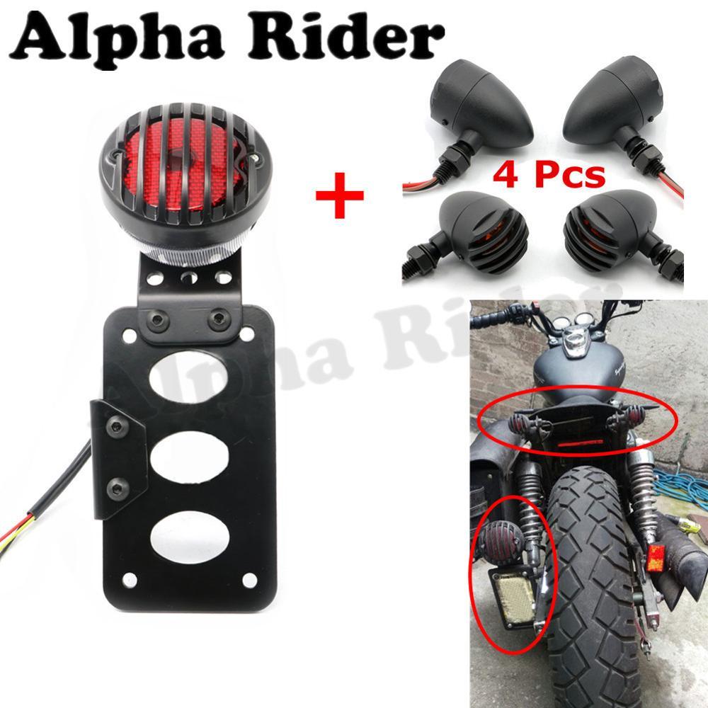 Side Mount Tail Light w/ License Plate Holder Bracket & Front+Rear Turn Signal Indicator for Harley Honda Yamaha Suzuki Kawasaki