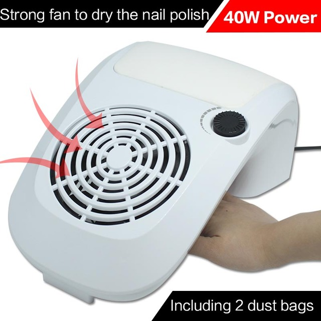 220v 40W Nail Art Salon Suction Dust Collector Manicure Filing Acrylic UV Gel Tip Machine Vacuum Cleaner Salon Tool EU Plug