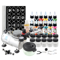 OPHIR Temporary Tattoo Airbrush Kit w/ PRO Air Compressor for Body Paint Airbrushing 12 Color Inks & 160 Stencils _OP-BP002