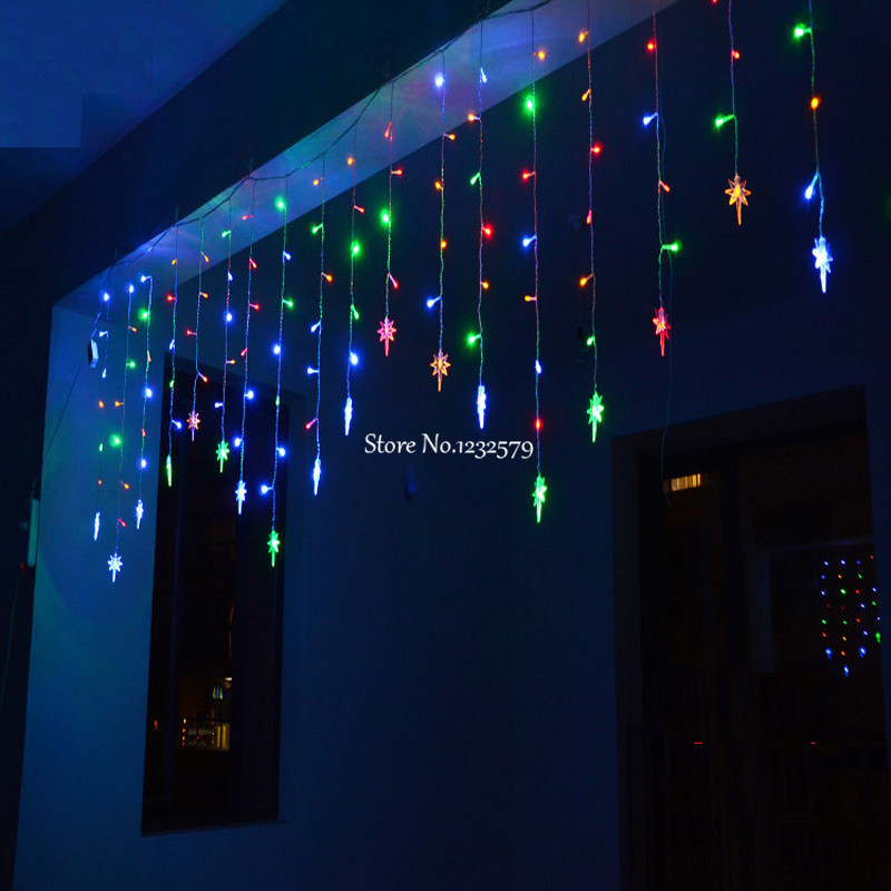 Us 12 74 25 Off 4m 100 Led String Fairy Lights 18pcs Polaris North Star Ice Bar Garland Curtain For Party Xmas Yard Decoration In