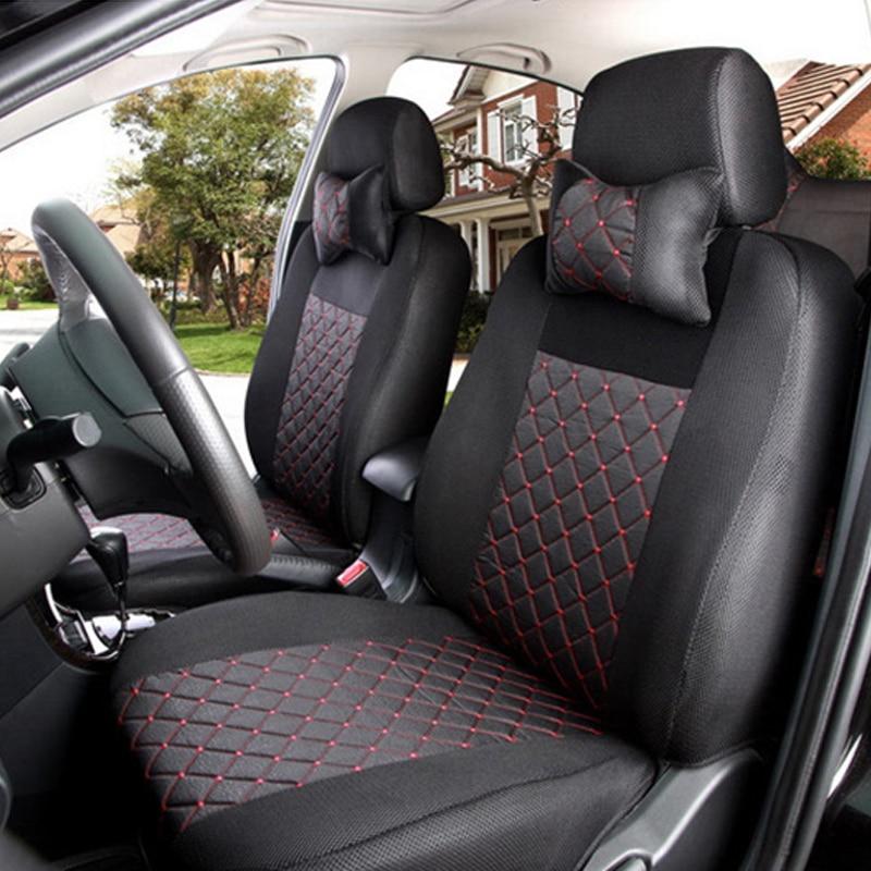 Housse de siège de voiture logo broderie respirante en soie gris/rouge/noir pour Dodge Ram chargeur durango journey dart avec housse de siège