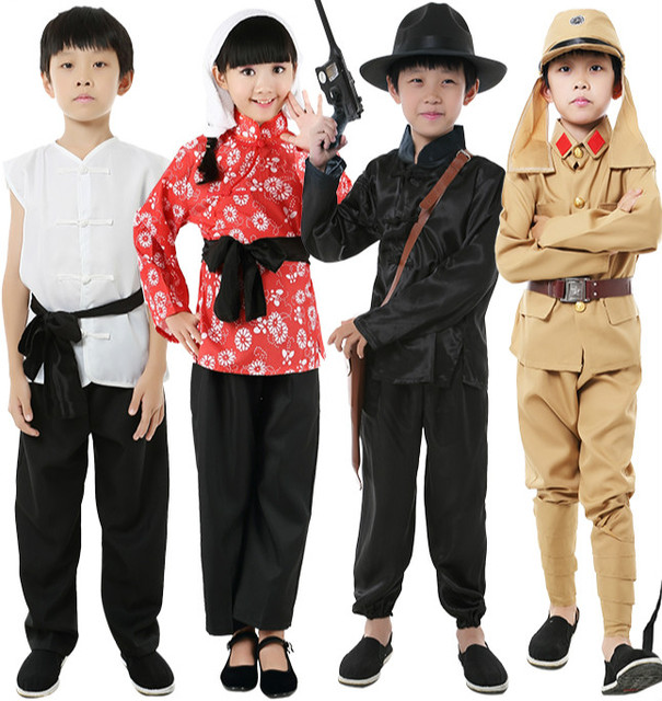 16971e2b Children Japanese Soldiers Military Uniforms Monitor Major Da Zuo Clothing  Drama Stage Cosplay Costume Village Girl Clothing 90