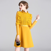 ARiby New Fashion Women Summer Dress Temperament Lace Water-soluble Flower Stitching Waist-slimming Solid Mini A-Line