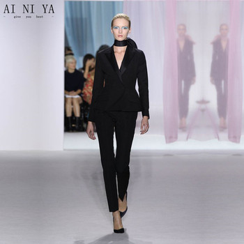 2018 Modern Sexy Women Business Suits Blazer Female Black Office 2 Piece Set Ladies Winter Formal Suits Formal Wedding Tuxedo