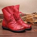 2016 Estilo Do Vintage de Couro Genuíno das Mulheres Botas Flat Botas de Couro Macio Mulheres Sapatos Frente Zip Ankle Boots zapatos mujer