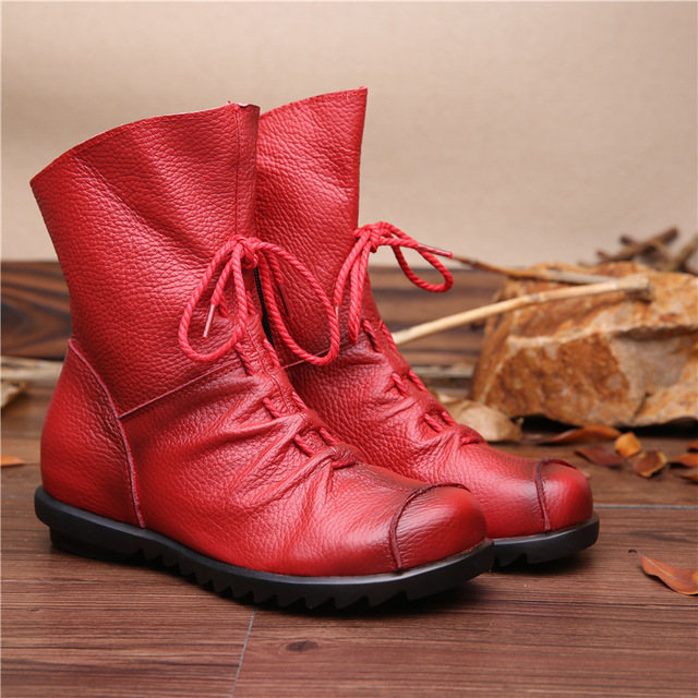 2016 Estilo Vintage Botines de Las Mujeres Botas Planas de Cuero Genuino Suave Zapatos de piel de Vaca de Las Mujeres Frente Zip Botines zapatos mujer