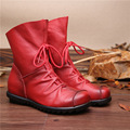 2016 Vintage Style Genuine Leather Women Boots Flat Booties Soft Cowhide Women's Shoes Front Zip Ankle Boots zapatos mujer