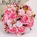 Красивый Розовый Искусственный Свадьба Брошь Букеты 2017 Сельская Свадебные Цветы Космос Розы Букет Невесты Mariage De