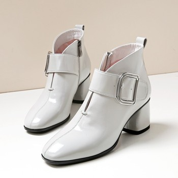 GPOKHDS 2019 women ankle boots Patent leather winter short plush buckle strap gray color high heels female boots size 34-42