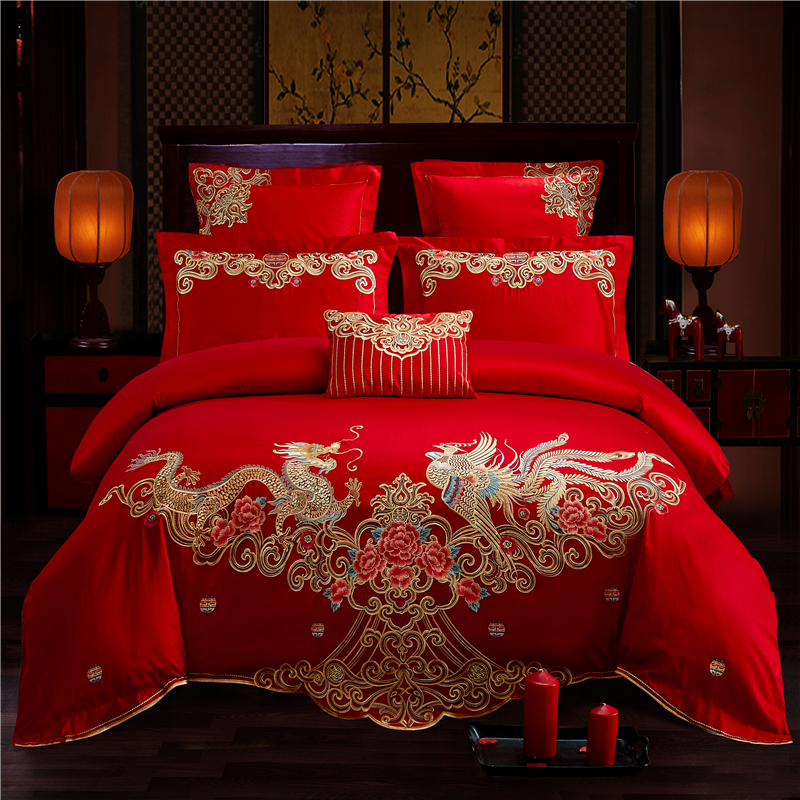 US $99.4 30% OFF|Luxury 100% Cotton Chinese Wedding dragon and phoenix  Bedding Set Embroidery Duvet Cover Bed Sheet Queen King Size 4/6/7pcs-in ...