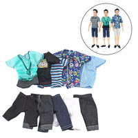 Besegad 5Set Mini Men Boy Doll Casual Wear West Clothes T-shirt  Pants Tops Bottoms Outfits Suits Accessories for Barbie Ken Toy