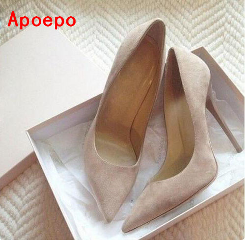 Hot selling suede high heel shoes pointed toe slip-on stiletto heels women pumps 2017 spring autumn single shoes size 34 to 42 new 2017 spring autumn plus size red wedding shoes for woman high heels pumps bowknot mid heel women sexy stiletto heel slip on