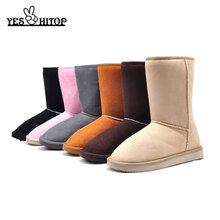 YESHITOP Brand 2019 Fashion 24cm Winter boots women flat snow boots botas de neve & Beige,Black,Gray,Coffe,Pink,(China)