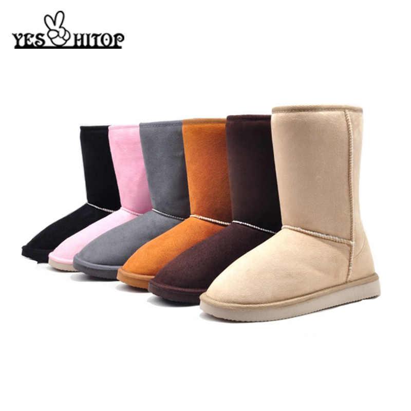 YESHITOP Marka 2019 Moda 24cm Kış çizmeler kadınlar düz kar botları botas de neve ve Bej, Siyah, gri, Kahve, Pembe,
