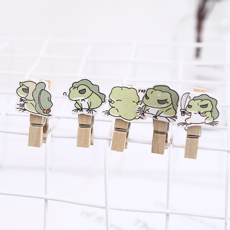 10Pcs/lot Kungfu Frog Wooden Clip Kawaii Photo Paper Postcard Craft DIY Decoration Clips Office Binding Supplies