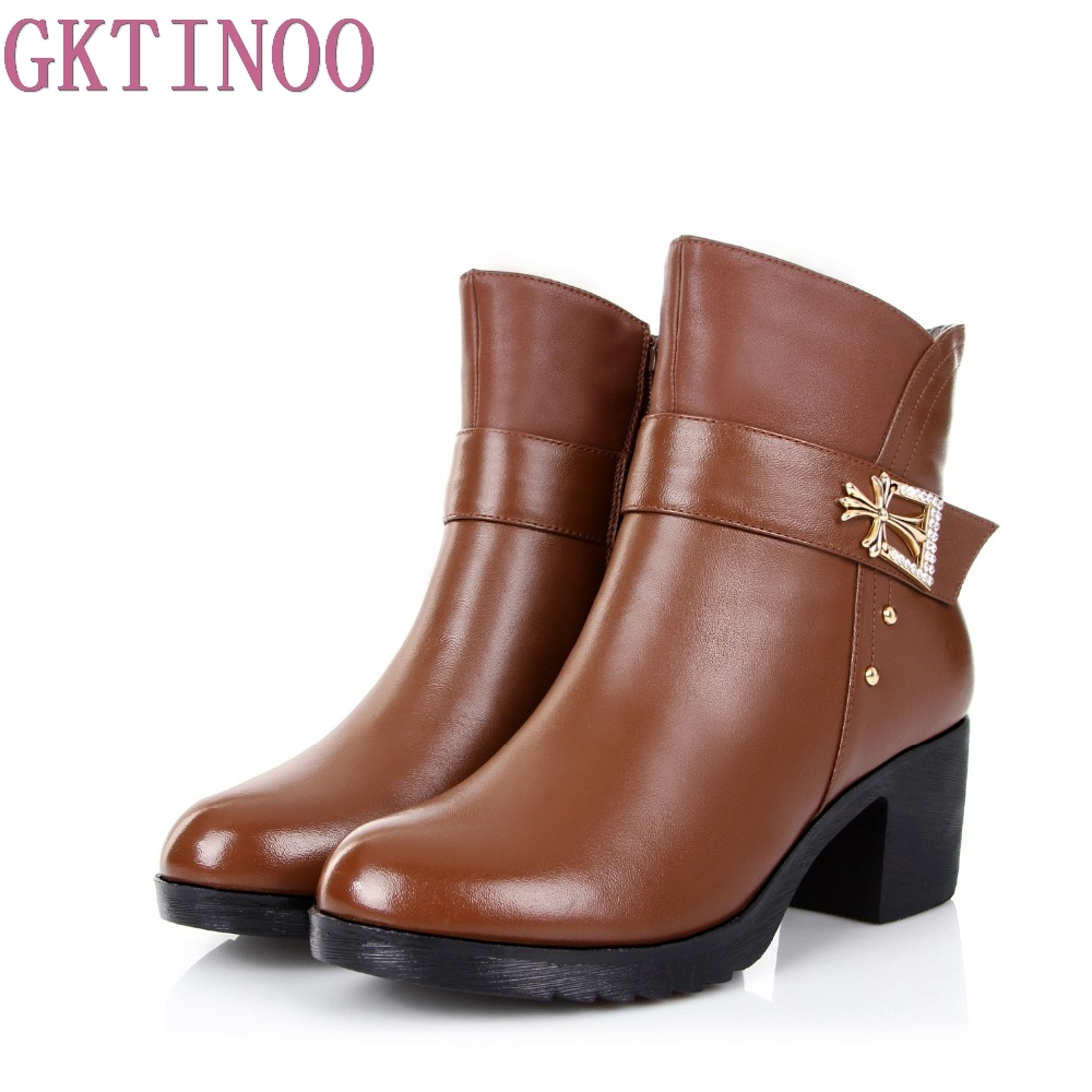Autumn Winter Genuine Leather Shoes Ankle Boots High Quality High Heel Fashion Women's Boots New Short Boots de la chance autumn winter genuine leather suede ankle boots wipe color fashion women s boots new short boots ladies shoes