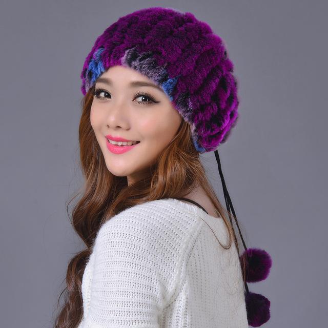 Mujer de invierno más el tamaño de la raya del estiramiento tejer skullies gorros sombreros de piel de conejo de la señora franja de gran tamaño de piel de zorro caliente gorras