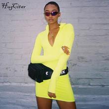 Hugcitar solid long sleeve high neck zipper high waist bodycon sexy stretchy dresses 2018 autumn winter women fashion casual set