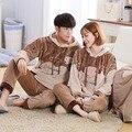 Elefante outono e inverno casal pijama coral de veludo mais grosso encantador dos desenhos animados homens e mulheres em casa de inverno de Flanela