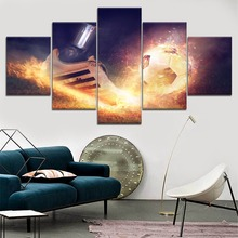 Football Shoe And Abstract Fire Smoke Painting 5 Piece Modular Style Picture Canvas Print Type Decor Wall Art Poster