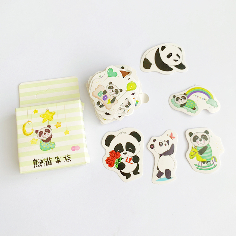 45 Pcs /Pack Super Kawaii Panda Family Adhensive Stickers Notebook Album DIY Decoration Stickers Stick Label